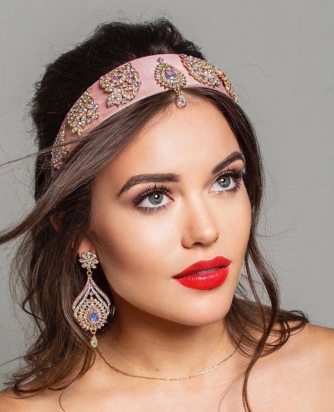 Pink Teardrop Headband & Earring Set