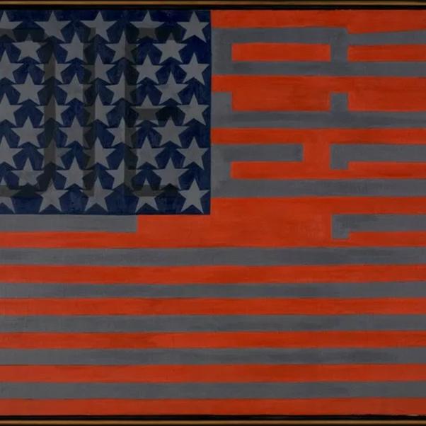 Faith Ringgold, Black Light Series #10: Flag for the Moon, 1969