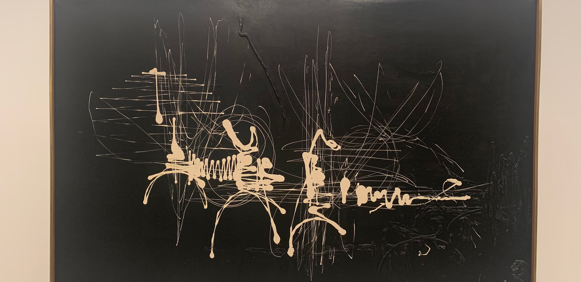 George Mathieu, Black and White Abstract (La mort de la Reine Edith), 1957