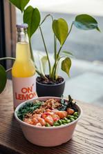 Nikkei Ceviche Bowl and Orange Lemonade