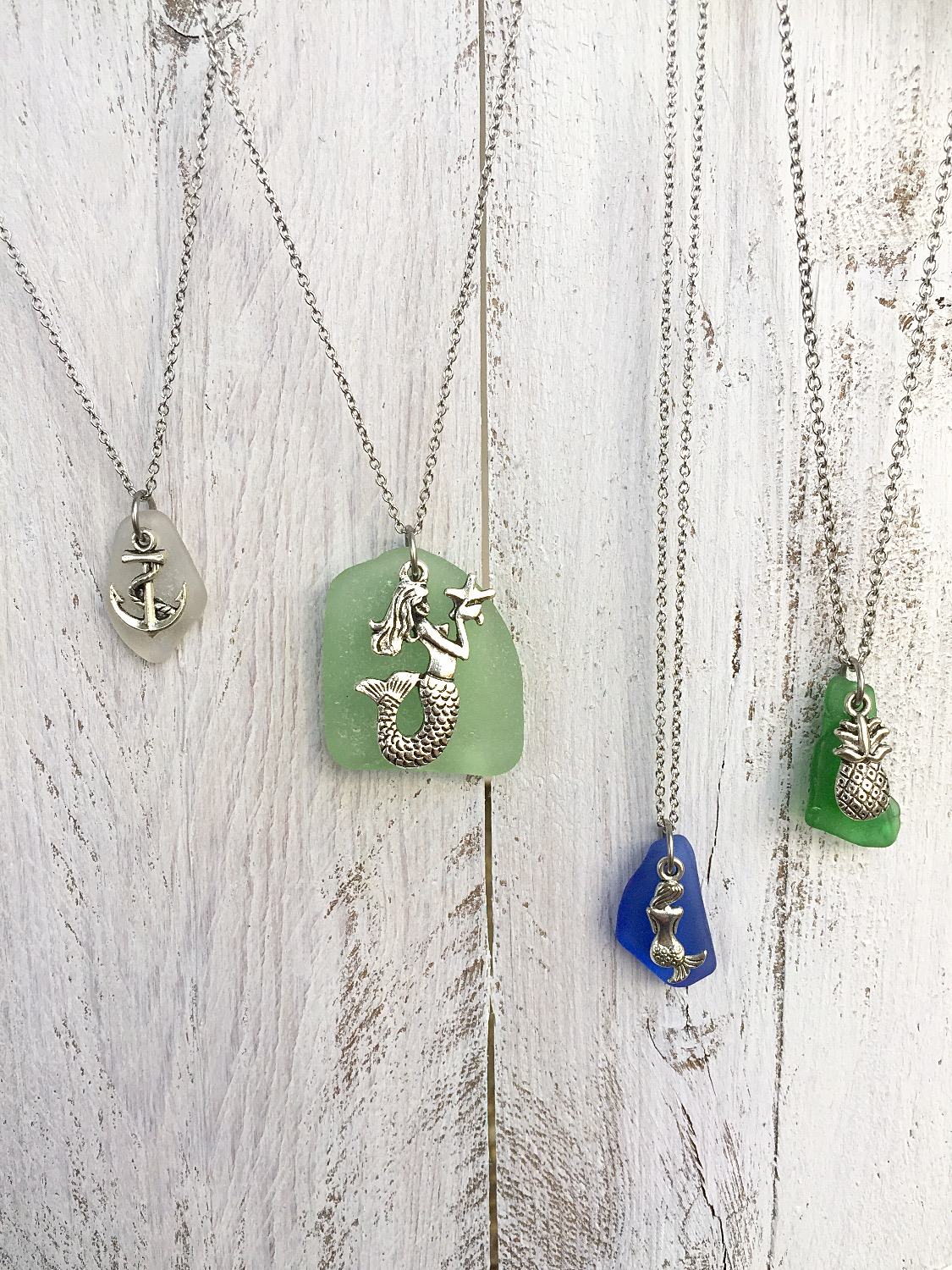 Sea Glass Charm Necklaces