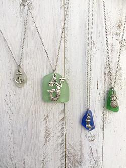 Sea Glass Charm Necklaces