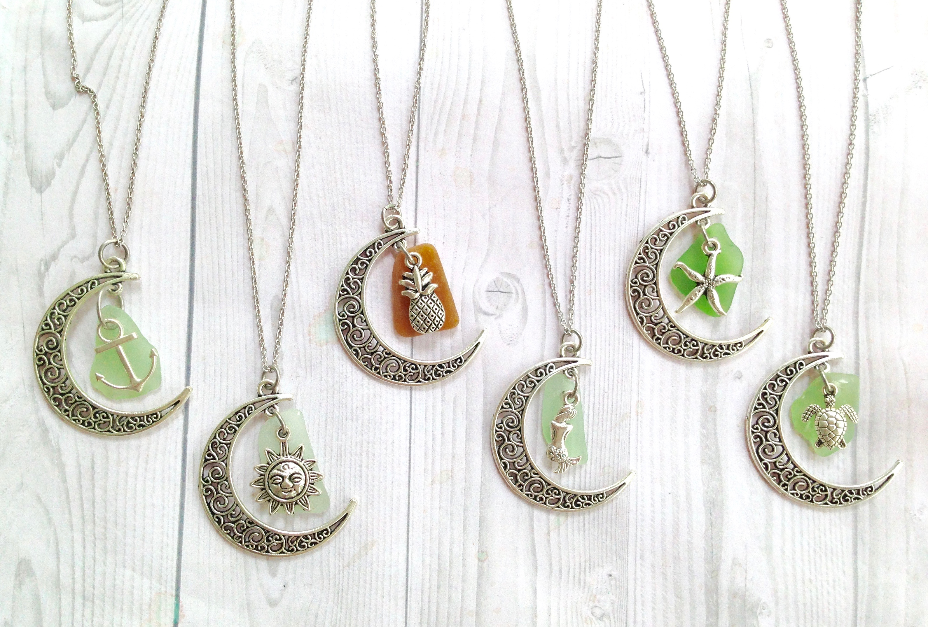 Crescent Moon Sea Glass Necklaces