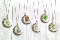 Crescent Moon Sea Glass Necklaces