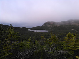 Crow Head Road overlooking Little Herring Cove Pond in the fog
