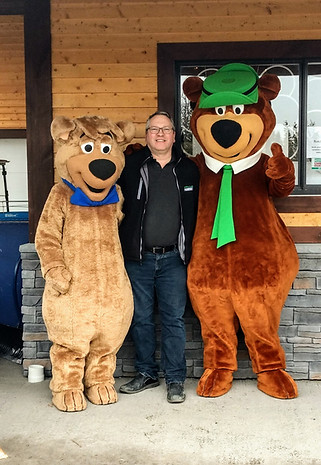 Yogi Bear and Boo Boo hanging out with Bruce