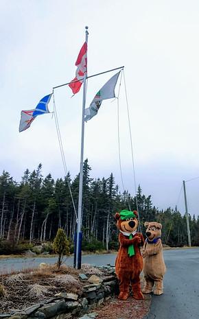 Morning flag raising with Yogi Bear and Boo Boo