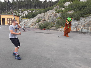 Hockey with Yogi Bear, Rylan and Landon