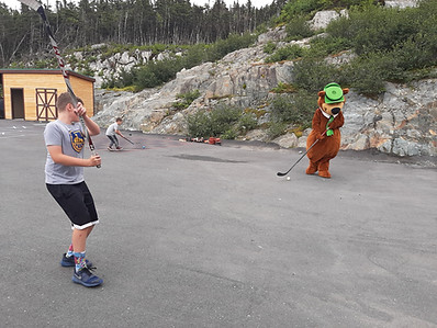 Hockey with Yogi Bear, Rylan and Landon