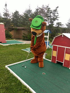 Playing a round of mini golf