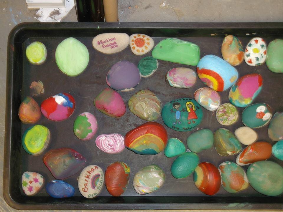 Barkham Preschool Rocks painted with the children