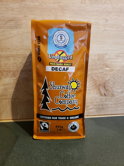 SHUSWAP COFFEE CO - UNPLUGGED (DECAF) - WHOLE BEAN - 454G