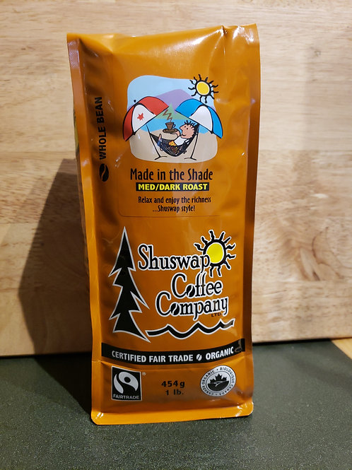 SHUSWAP COFFEE CO - MADE IN THE SHADE - WHOLE BEAN - 454G