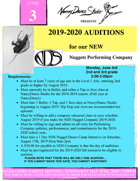 NDS NUGGETS PERFORMING COMPANY AUDITIONS