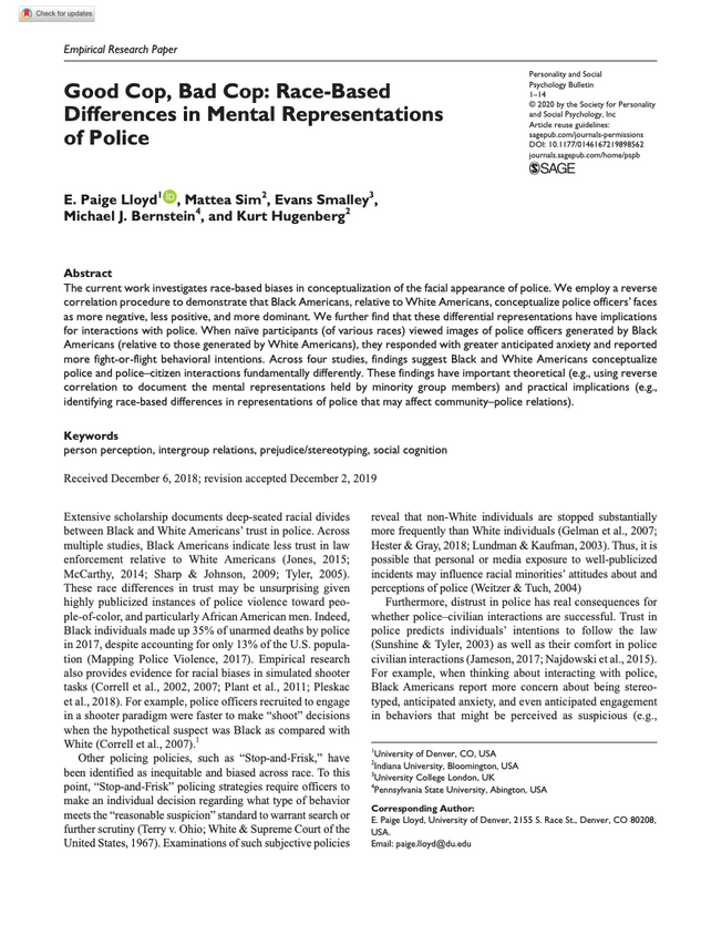 Good Cop, Bad Cop, Race-Based Differences in Mental Representation of Police (Lloyd et al. 2020)