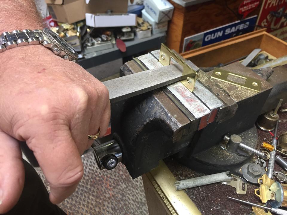 Working on a customer job at Bill's Lock Shop in San Bruno.