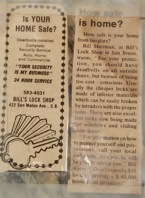 Bill's Lock Shop vintage newspaper ad from the 70's.