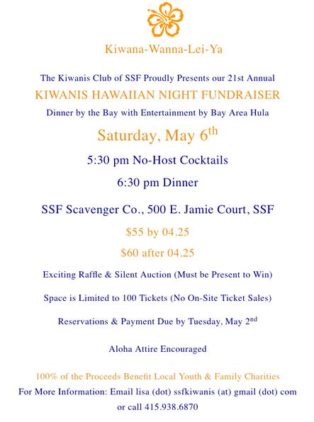 21st Annual KIWANIS HAWAIIAN NIGHT FUNDRAISER, Sat. May 6th