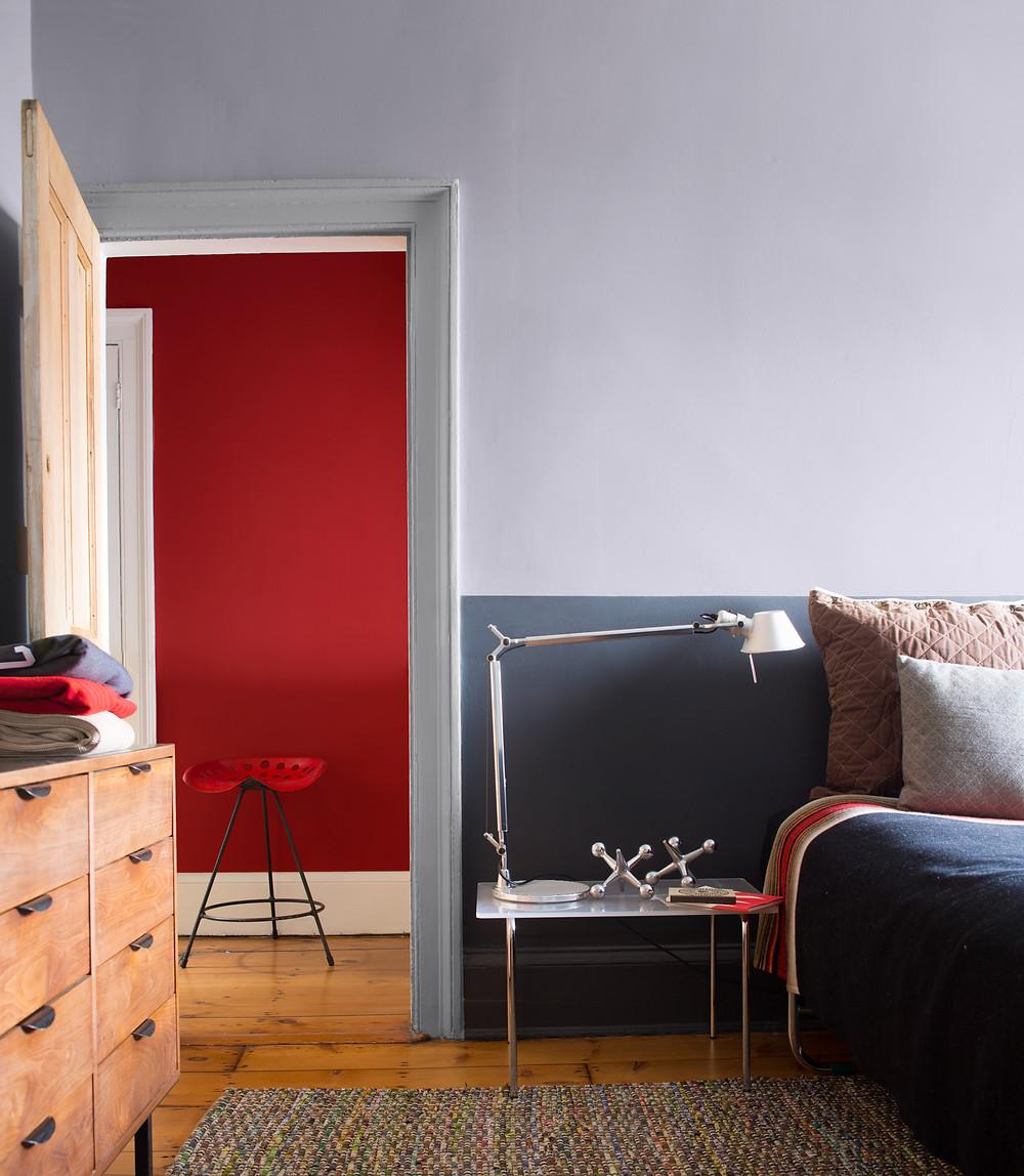 Red Paint Idea using Benjamin Moore in the bedroom