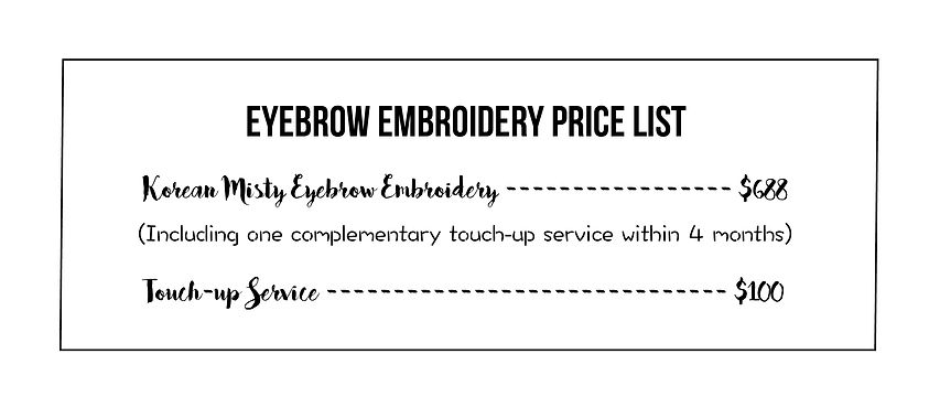 YT Lash & Brow Studio Eyebrow Embroidery Price List