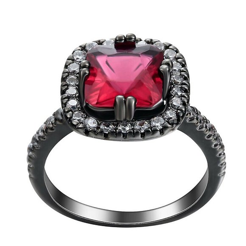Halo Red Sapphire Ring Size 9