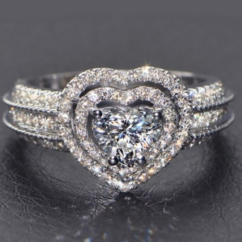 White CZ Wedding Heart Ring Promise Size 7