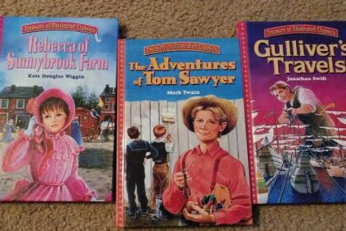 Treasuey of Illustrated Classics Hardback Lot Gulliver's Travelers Tom Sawyer