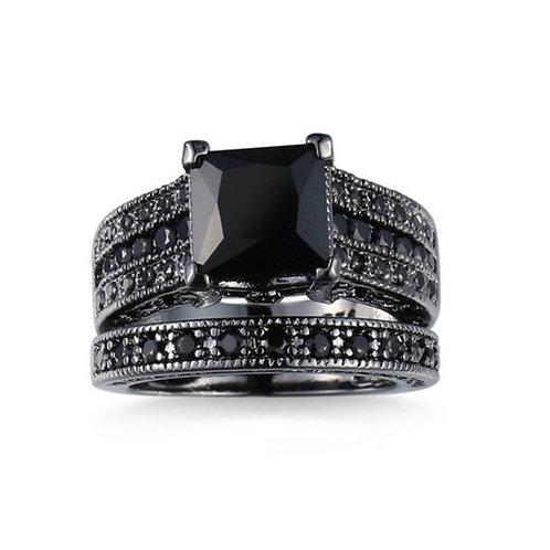 Black Diamond Ring 2 Piece Set Black Gold Plated 8