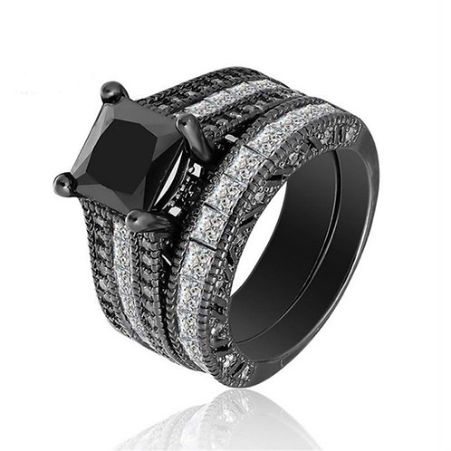 Black White Wedding Ring 2 Piece Gothic 6