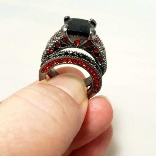 Red Black 2 Piece Wedding Ring Set 6