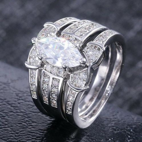 marquise Cut 2 carat CZ Wedding Ring 3 piece 6