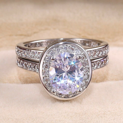 Oval Halo Cut 2 Piece Wedding Ring 8
