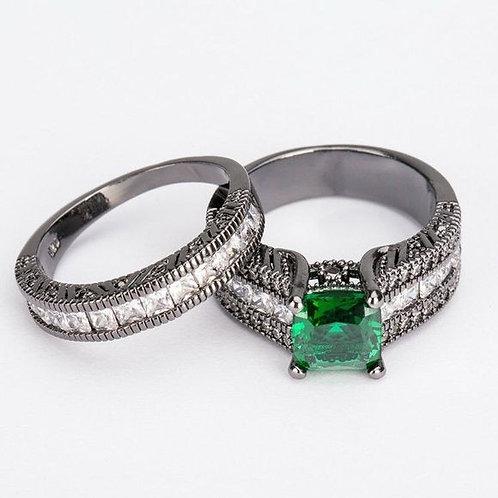 Princess Cut Green White Wedding Ring 7