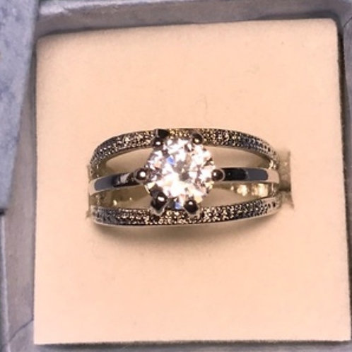 Round CZ Solitaire Ring Silver 7