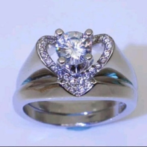 Silver Heart Solitaire Wedding Ring 5