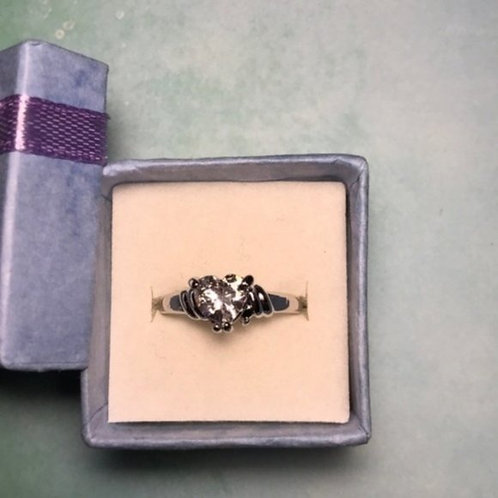Heart Silver Diamond Ring size 8 Solitaire CZ