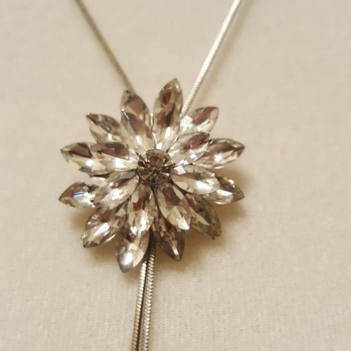Crystal Flower Necklace Silver Chain Evening wear