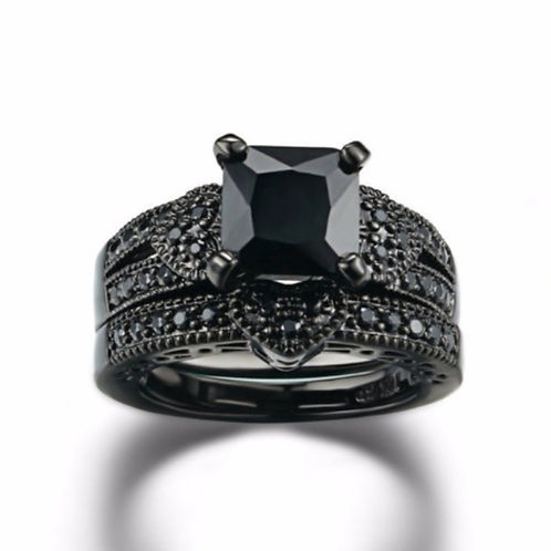 Black Gothic Woman Wedding Ring Size 6