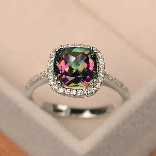 Halo Mystic Rainbow Wedding Ring 7