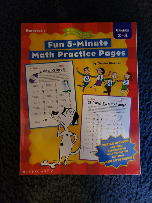 Fun 5-Minute Math Practice Pages by Denise Kiernan (2002, Paperback) Grades 2-3