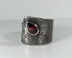 Reticulated Garnet Cuff Ring