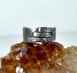 Silver Ring three stripe detail