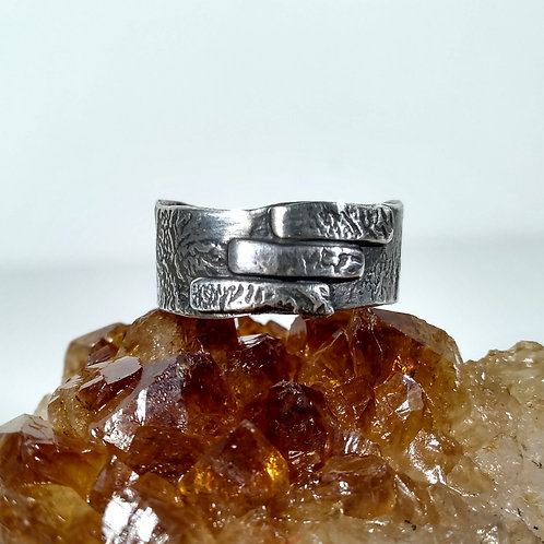 Silver Ring with three stripe detail