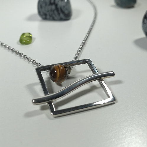 Tigers Eye Moon Pendant