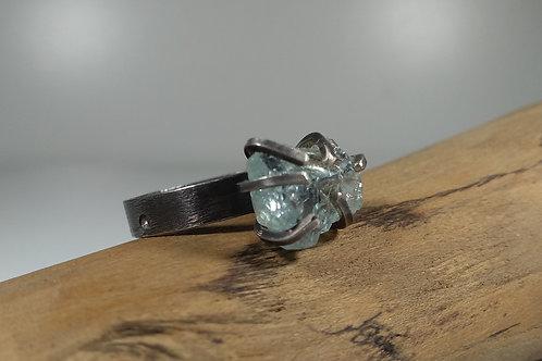 Raw Aquamarine 'Claw' Ring