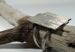 Wood effect Sterling Silver Ring