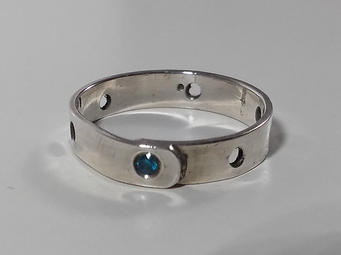 Silver Ring with Blue CZ