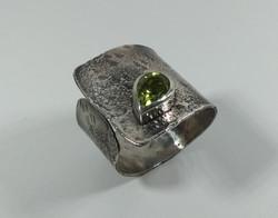 Reticulated Peridot Cuff Ring