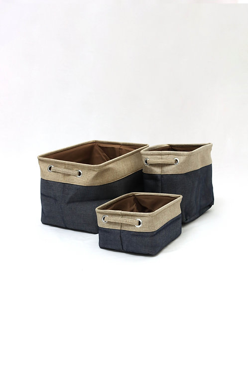 Blue Linen Basket
