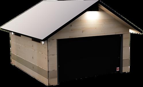 Rasenroboter Garage Holz für Automower und Gardena. Mechanisches Tor. Wartungsfrei. Bausatz zum selber streichen